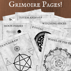 printable grimoire page printable book of shadows page bw bundle