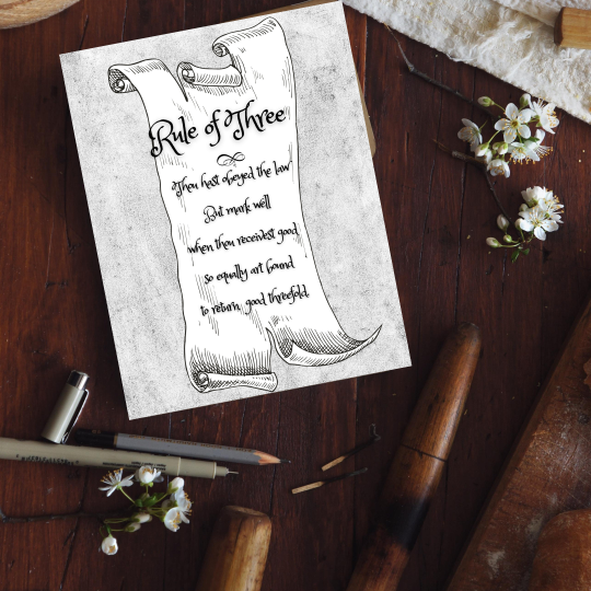 printable grimoire page printable book of shadows page bw rule of three