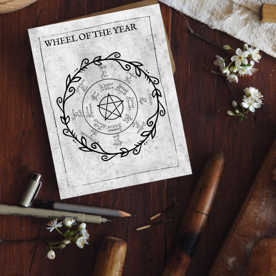 printable grimoire page printable book of shadows page bw wheel of the year