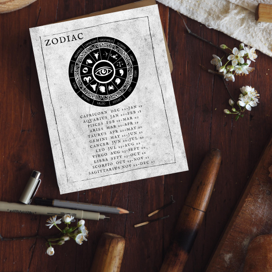 printable grimoire page printable book of shadows page bw zodiac
