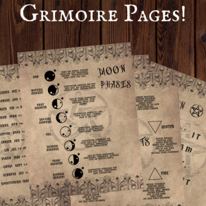 printable grimoire page printable book of shadows page parchment bundle
