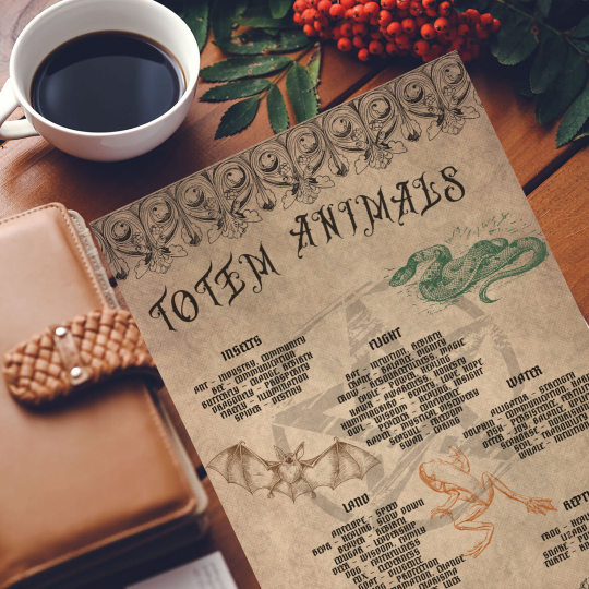 printable grimoire page printable book of shadows page parchment totem animals