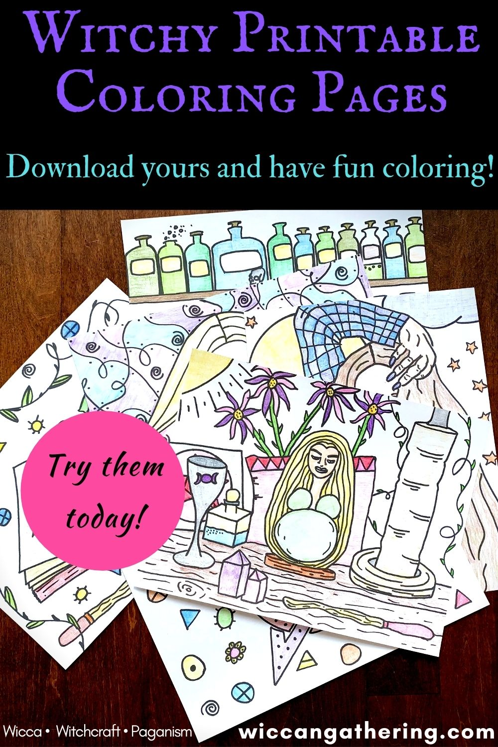 wiccan coloring pages witch coloring printable pages